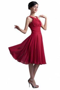 Buy 2013 Modest Scoop Knee-length Wine Chiffon Bridesmaid Dress Under 100 Bridesmaid Dresses under $89.99 only in DressesTime.