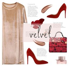 """""""Crushing on Velvet"""" by sandralalala ❤ liked on Polyvore featuring Christian Louboutin, Dolce&Gabbana, Burberry and Saks Fifth Avenue"""