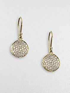 Ippolita - Diamond and 18K Yellow Gold Disc Earrings