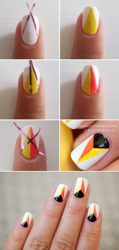 25 Easy Nail Art Designs (Tutorials) For Beginners - 2019 Update - Nails ideas - Dekoration Simple Nail Art Designs, Nail Polish Designs, Cute Nail Designs, Easy Nail Art, Nails Design, Diy Nails, Cute Nails, Pretty Nails, Flame Nail Art