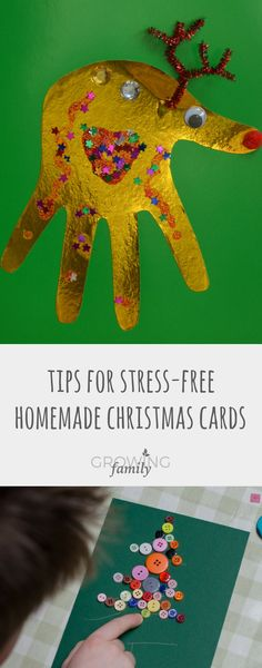 Homemade Christmas cards are a great craft activity to do with the kids; take the stress out of it with these tips and ideas for handmade Christmas cards. Preschool Christmas Crafts, Christmas Art Projects, Christmas Crafts For Kids To Make, Christmas Activities For Kids, Homemade Christmas Cards, Crafts To Do, Kids Christmas, Handmade Christmas, Family Crafts