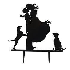 Kissing Couple Bride & Groom with Dogs Silhouette Wedding Party Cake Topper Wedding Silhouette, Dog Silhouette, Dog Cake Topper, Cake Toppers, Party Cakes, Bride Groom, Wedding Engagement, Couples, Kissing