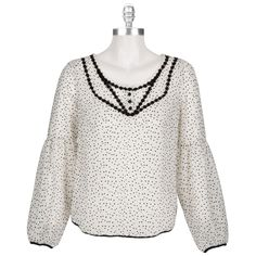 Free People Women's Contemporary Flocked Dot Cotton Joanna Blouse #VonMaur