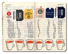 collage of Earl Grey tea bags in moleskin journal by Kathrin Jebsen-Marwedel http://www.flickr.com/photos/98657307@N00/with/5398603252/  #tea_bags #earl_grey #art