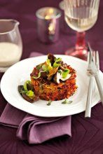 Potato, carrot and beetroot rösti with mushroom fricassee