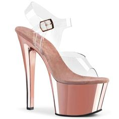"""SKY-308 Clear/Rose Gold Chrome 7"""" Pleaser Pole Shoes"""