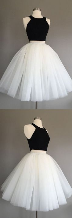 Homecoming Dress,Homecoming Dress Short,Prom Dress Short,Cheap Prom Dresses,Cheap Homecoming Dresses,Cheap Evening Dress,Homecoming Dresses Cheap,Quality Dresses,Party Dress,Fashion Prom Dress,Prom Gowns,Dresses for Girls,Prom Dress,Simple Prom Dresses,Ivory Tulle Halter Knee-Length Two Piece Sleeveless Homecoming Dress, SH240 #dressesprom
