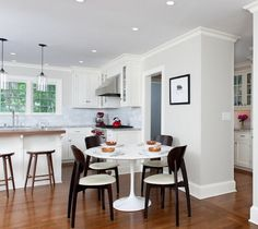 If you are interested in knowing some your modern dining room design ideas, this article can be of great help. This article will provide you some dining room White Round Kitchen Table, Kitchen Work Tables, White Round Tables, Kitchen Island Table, Kitchen Dining Sets, Kitchen Seating, Eat In Kitchen, Dining Room Table, Round Dining