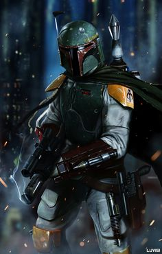 "Boba Fett - No Disintegrations - Concept art by Dan LuVisi, USA. From Dan: ""Boba Fett. Disintegrating some dude. I grew up LOVING this guy. I have a collection of nerdy Boba Fett st Star Wars Film, Star Wars Art, Stargate, Jango Fett, Star Wars Boba Fett, Boba Fett Art, Boba Fett Tattoo, Boba Fett Meme, Boba Fett Mandalorian"