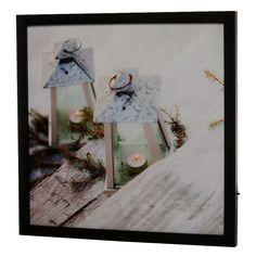 Een fraaie LED canvas schilderij met een afbeelding van twee lantaarns