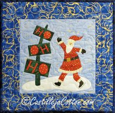 Santa Quilted Wall Hanging  Gliding Along by castillejacotton, $69.00