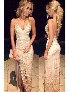 Popular Sexy Spaghetti Straps Long Lace Prom Dresses  Evening Dresses  #SIMIBridal #promdresses