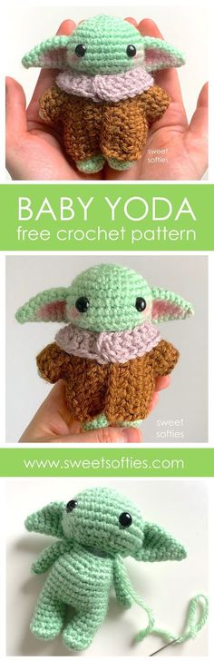 Ravelry: Baby Yoda Inspired Amigurumi Doll pattern by Sweet Softies Easy Crochet Patterns, Crochet Patterns Amigurumi, Amigurumi Doll, Crochet Dolls, Baby Patterns, Free Crochet, Crochet Baby, Doll Patterns, Softies