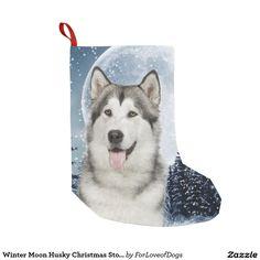 Winter Moon Husky Christmas Stocking Small Christmas Stocking