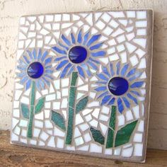 Mosaic Wall Art Stained Glass Mosaic Art Daisy by bluewaveglass