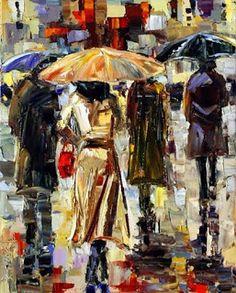 "Contemporary Artists of Texas: Abstract Rainy City Art, Street Scene Painting ""Woman With Umbrella"" by Texas Artist Debra Hurd"