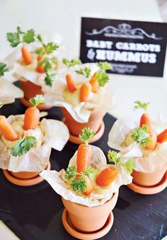 Too cute party snack idea! Baby carrots in hummus
