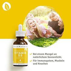 Unabhängig LABORGEPRÜFTER Vitamin D3 Gehalt: Vitamin D3 ( Cholecaciferol ) Tropfen von InnoNature. 1000 I.E. - 25 µg pro Tropfen. 100% rein pflanzlich und flüssig mit hochwertigem nativem Olivenöl. Vitamin D aus Flechten in 50ml. Sehr hohe Bioverfügbarkeit, hochdosiert, vegan und hergestellt in Hamburg, DE. Vitamin D3, Vegan, Movie Posters, Immune System, Braid, Hamburg, Film Poster, Popcorn Posters, Film Posters