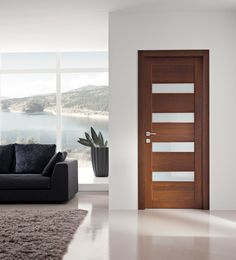 Classy Solid Wood Interior Door With Frosted Glass Panels In Charming  Living Room Using Black Sofa And Brown Shag Rug On White Floor Tile Also  White Wall ...