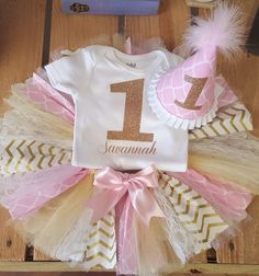 Pink and Gold Fabric First Birthday Tutu Set