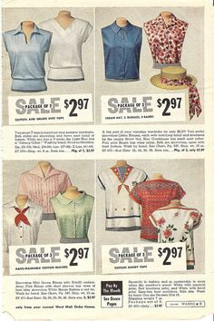 Stylish short sleeve and sleeveless tops from the Summer 1959 Montgomery Ward catalog. #vintage #1950s #tops #fashion #summer