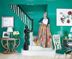 A casa de Erika Bearman. Veja mais: http://www.casadevalentina.com.br/blog/materia/alta-costura-da-decora-o.html #decor #decoracao #color #cor #modern #moderno #charm #interior #design #home #casa #casadevalentina