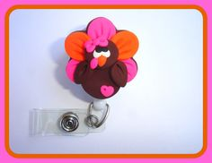 Retractable badge holder  Turkey Time  fall by clippiecollections