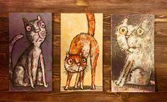 Миниатюрные картинки с котами – купить на Ярмарке Мастеров – H9GOVRU   Картины, Архангельск Cat Art, Cats, Painting, Gatos, Painting Art, Paintings, Cat, Kitty, Painted Canvas