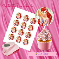 """Ariel Cupcake Toppers,Ariel Gift tags,Ariel Instant Download, Mermaid Party Favor, Printable Labels, 2""""inch"""