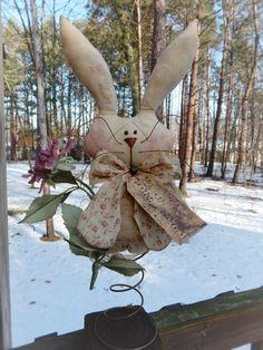FOLK Art PrimiTive RusTy Spring EasTer Bunny Shabby RoSe RABBIT DOLL DecoraTion #PrimitiveLook #MelissaHarmon