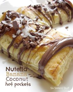 Nutella Banana Coconut Hot Pockets. These would make a delicious breakfast, snack or dessert!  I could eat them for any meal of the day.