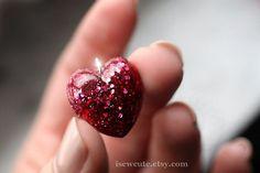 Little Girl Jewelry  Glitter Heart Pendant Necklace  by isewcute
