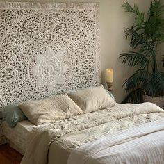 Hand-carved Medallion Wall Art Hanging or Bed Headboard for King made of reclaimed Teak wood. This elegant lotus design wood carving is a timeless work of art. Add a character and eco-friendly to your home. • California king size • Dimensions, 72 H x 72 W x 0.7 D inches, 22 kg. • Consists of 6 Lotus Design, Wood Carved Headboard, Carved Wood Wall Art, Wall Wood, King Size Bed Headboard, King Bed Frame, Wooden Wall Art Panels, Bohemian Headboard, French Cottage Decor