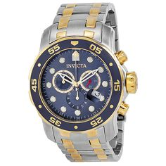 cd2c48362e9 Invicta Pro Diver Chronograph Blue Dial 18kt Gold-plated Mens Watch 0077.  http
