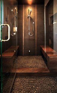 FLOOR INTERIOR: Master Bathroom tiled shower with stone pebble floor, glass doors and shower seats in bathroom remodel in Virginia Bad Inspiration, Bathroom Inspiration, Bathroom Ideas, Modern Bathroom, Bathroom Designs, Bathroom Spa, Bathroom Organization, Bath Ideas, Minimal Bathroom