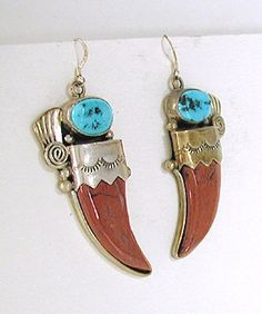 vintage  Red Jasper Claw and Turquoise Wire earrings