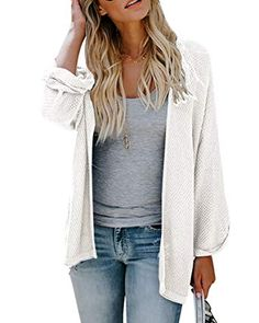 Chic Ofenbuy Womens Cardigans Casual Lightweight Open Front Long Sleeve  Loose Knit Sweaters online.   b5cc1a309