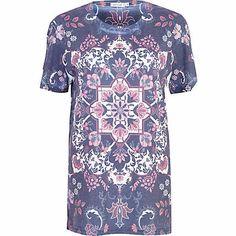 Blue floral tapestry print t-shirt - print t-shirts / vests - t shirts / vests / sweats - women