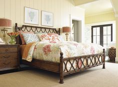 Bent rattan bed from Tommy Bahama Home perfect for a vacation home or beach condo.  #TommyBahamaBedroom