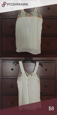Crocheted detail flowy tank Beautiful barely worn tank with frothed detail. Wear it with shorts or dress up with jeans. Maurices Tops Tank Tops