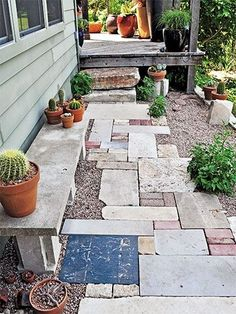 Up Your Patio Eclectic salvaged pathway Very sweet design gardening landscaping hardscaping pavers and walkway landscape architectureEclectic salvaged pathway Very sweet. Garden Deco, Ponds Backyard, Backyard Landscaping, Backyard Ideas, Landscaping Ideas, Outdoor Projects, Garden Projects, Pond Design, Dream Garden