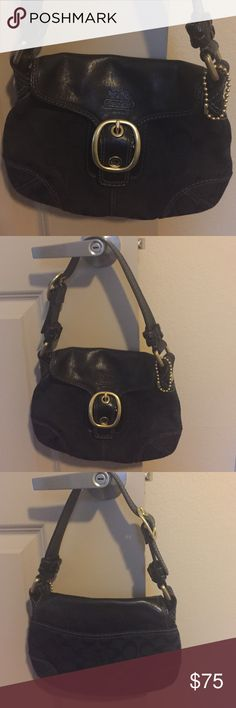 Black Coach handbag with gold accent Coach handbag Coach Bags Shoulder Bags