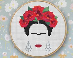 Frida Cross Stitch Pattern Modern Embroidery Frida Kahlo Cross Stitch Counted Cross Stitch Feminist Modern Art Mexican Download PDF