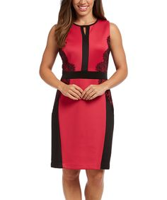 Look at this #zulilyfind! Fuchsia & Black Lace-Accent Sheath Dress by ILE New York #zulilyfinds