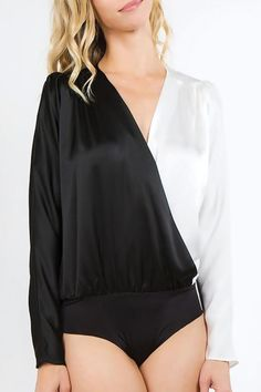 Black & White Two-Tone Crossover V-Neck Bodysuit – Iza Apparel V Neck Bodysuit, Satin Material, Bikini Pictures, Crossover, Casual Looks, Lounge Wear, Black And White, Clothes For Women, Bikinis