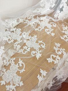 Ivory Cotton Alencon Lace Fabric  Bridal Gown Wedding Lace