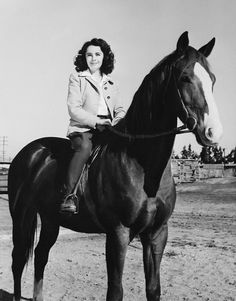 Elizabeth Taylor in National Velvet on The Pie, played by King, a horse later gifted to the actress by the studio on the film's completion.