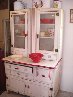 White Hoosier Cabinet with Red Trim