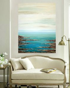 This is a one of a kind painting by acrylic artist Ora Birenbaum. I used soft shades of sea foam, minty green, and spa blue with touches of white and cream that melt down toward shades of turquoise, teal, and ocean blue. There are accents of deep chocolate brown and taupe with touches of metallic pewter and gold for wonderful depth. This painting is highly textured and will arrive signed, sealed, and wired for easy display. Sides will be finished as well. TITLE: Retreat 3 DIMENSIONS…