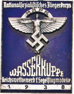 German poster 1938. Nationalsozialistischer Fliegerkorps - Reichswettbewerb der Segelflugmodelle auf der Wasserkuppe